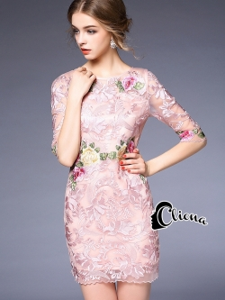 Cliona made 'Luxury Emroidered Roses Lace Dress - Mini dress