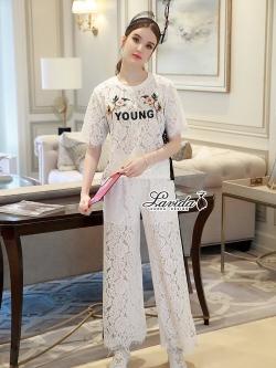 Korea Design By Lavida Floral stitching feminine lace top long pants chic set code1784