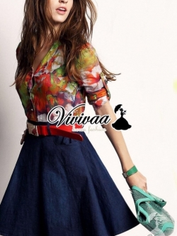 "Vivivaa recommend ""Clorly flora shirt denim skirt dress"""