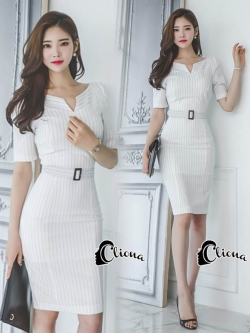 Cliona Made' Simplicity White + Fine Black Line Daily Dress
