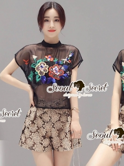 Seoul Secret Say's .... Goldy Blossom Pants Color Flora Blouse Set