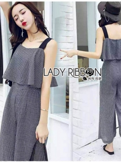เสื้อผ้าแฟชั่นเกาหลี Lady Ribbon's Made Lady Lily Smart Casual Belt-Strap Jumpsuit