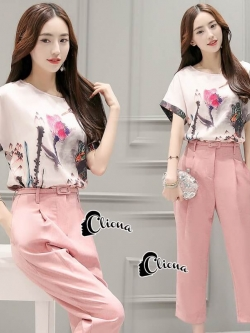 Cliona Made' Pastel Tone Water Drawing Top + Pant Set