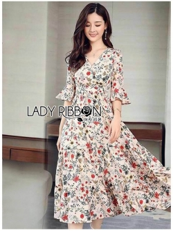 🎀 Lady Ribbon's Made 🎀 Lady Anna Flower Blossom Printed Layered Country Dress