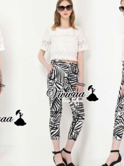"Vivivaa recommend ""Lace chill graphic pants print set"""