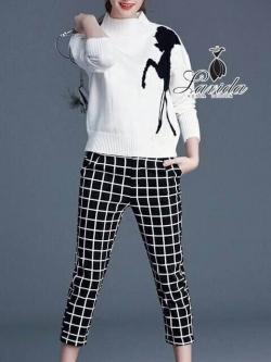 Korea Design By Lavida deer black and white striped jumper set