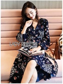เสื้อผ้าแฟชั่นเกาหลี Lady Ribbon's Made Lady Monica Floral Patterned Printed Wrap Dress
