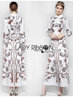 เสื้อผ้าแฟชั่นเกาหลี Lady Ribbon's Made Lady Babara Wild Printed White Shirt