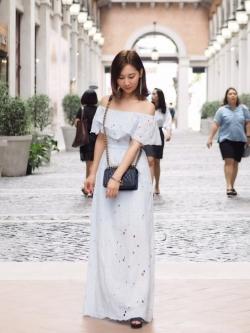 เสื้อผ้าแฟชั่นเกาหลี Lady Ribbon Thailand Normal Ally Present Topshop new lace maxi dress