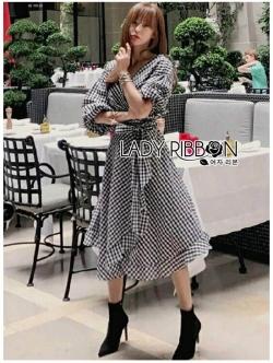เสื้อผ้าแฟชั่นเกาหลี Lady Ribbon's Made Lady Michell Korean Style Checked Cotton Ruffle Dress