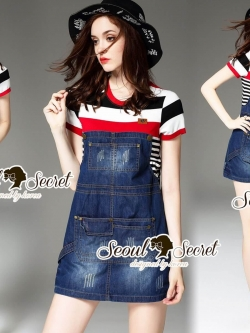 Seoul Secret Say's .... Almanda Chic Stipy Denim Dress