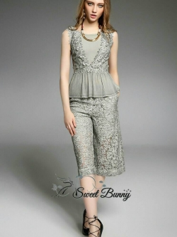 Sweet Bunny Present... Geo Grey Lace Wide Pants Set