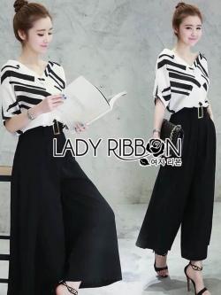 &#x1F380 Lady Ribbon's Made &#x1F380 Breton stripe & Kyros high waist pant with belt.
