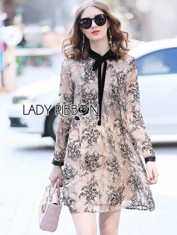 เสื้อผ้าแฟชั่นเกาหลี Lady Ribbon's Made Lady Leslie Printed Chiffon with Black Velvet Ribbon Mini Dress