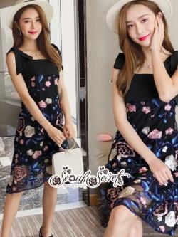 เสื้อผ้าแฟชั่นเกาหลี Lady Ribbon Thailand Seoul Secret Say'...Mini Lace Dress Erin Off Shoulder Black&Cream Tulle Korea
