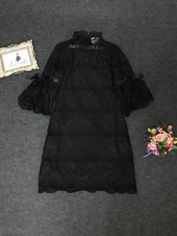 Korea Design By Lavida Noble Luxury bow tie stitching lace aristocratic dress code875