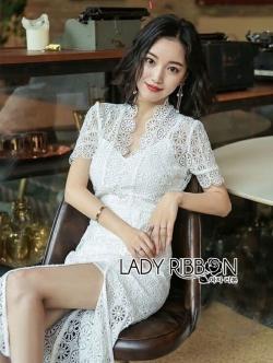 เสื้อผ้าแฟชั่นเกาหลี Lady Ribbon's Made Lady Alice Chinese Style White Lace Dress