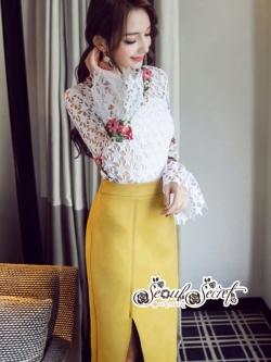 เสื้อผ้าแฟชั่นเกาหลี Lady Ribbon Thailand Seoul Secret Say'...Star Lace Shirt Colored Flowers Style Korea