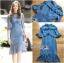 เสื้อผ้าแฟชั่นเกาหลี Lady Ribbon's Made Lady Lizzy High-Neck Ruffle Dark Blue Lace Dress thumbnail 8