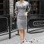 เสื้อผ้าแฟชั่นเกาหลี Lady Ribbon Thailand Seoul Secret Say's...Dress Scott Gray Style Working Woman thumbnail 4