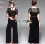 เสื้อผ้าแฟชั่นเกาหลี Lady Ribbon's Made Lady Cindy Collared Black & White Lace and Crepe Jumpsuit thumbnail 4