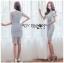 เสื้อผ้าแฟชั่นเกาหลี Lady Ribbon's Made Lady Sofia Graphic Two-Tone Baby Blue Dress thumbnail 11