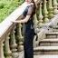 เสื้อผ้าแฟชั่นเกาหลี Lady Ribbon's Made Lady Cindy Collared Black & White Lace and Crepe Jumpsuit thumbnail 3