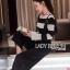 เสื้อผ้าแฟชั่นเกาหลี Lady Ribbon's Made Lady Victora Minimal Chic Striped Blue and Belted Overall Jumpsuit Set thumbnail 3