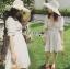 เสื้อผ้าแฟชั่นเกาหลี Lady Ribbon's Made Lady Victoria Casual Holiday White Cotton Dress thumbnail 3