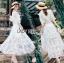 เสื้อผ้าแฟชั่นเกาหลี Lady Ribbon's Made Lady Natalie Little Princess High-Neck White Lace Long Dress thumbnail 8