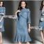 เสื้อผ้าแฟชั่นเกาหลี Lady Ribbon's Made Lady Lizzy High-Neck Ruffle Dark Blue Lace Dress thumbnail 1