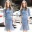 เสื้อผ้าแฟชั่นเกาหลี Lady Ribbon's Made Lady Lizzy High-Neck Ruffle Dark Blue Lace Dress thumbnail 7