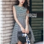 เสื้อผ้าแฟชั่นเกาหลี Lady Ribbon's Made Lady Annie Minimal Chic Asymmetric Striped Dress thumbnail 4