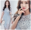 เสื้อผ้าแฟชั่นเกาหลี Lady Ribbon's Made Lady Sofia Graphic Two-Tone Baby Blue Dress thumbnail 6