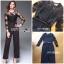 เสื้อผ้าแฟชั่นเกาหลี Lady Ribbon's Made Lady Francesca Smart Casual Vertical Stripes with Inserted Lace Jumpsuit thumbnail 6