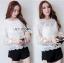 เสื้อผ้าแฟชั่นเกาหลี Lady Ribbon's Made Yves Classic Sweet White Lace Blouse thumbnail 2