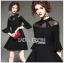 เสื้อผ้าแฟชั่นเกาหลี Lady Ribbon's Made Lady Bianca Black Ribbon Frilled Dress thumbnail 1