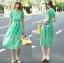 เสื้อผ้าแฟชั่นเกาหลี Lady Ribbon's Made Lady Penelope Elegant Feminine Minty Lace Maxi Dress thumbnail 5