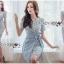 เสื้อผ้าแฟชั่นเกาหลี Lady Ribbon's Made Lady Sofia Graphic Two-Tone Baby Blue Dress thumbnail 1