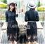 เสื้อผ้าแฟชั่นเกาหลี Lady Ribbon's Made Lady Charlie Sweet Minimal Chic Insert Lace Shirt Dress thumbnail 1