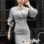 เสื้อผ้าแฟชั่นเกาหลี Lady Ribbon Thailand Seoul Secret Say's...Dress Scott Gray Style Working Woman thumbnail 1