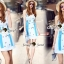 เสื้อผ้าแฟชั่นเกาหลี Seoul Secret Say's...Fashion Blue Diamond Embroidery Dress thumbnail 2