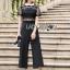 เสื้อผ้าแฟชั่นเกาหลี Lady Ribbon's Made Lady Cindy Collared Black & White Lace and Crepe Jumpsuit thumbnail 2