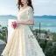 เสื้อผ้าแฟชั่นเกาหลี Lady Ribbon's Made Lady Nasha Sweet Classic White Lace Dress with Belt thumbnail 4