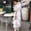 เสื้อผ้าแฟชั่นเกาหลี New Arrival … Don't Miss!! Normal Ally Present Embroider flower W.L new collection dress thumbnail 7