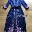 เสื้อผ้าแฟชั่นเกาหลี Lady Ribbon Thailand Lady Ribbon's Made Lady Claire Modern Hippie Flower Embroidered Navy Crepe Long Dress thumbnail 5