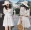 เสื้อผ้าแฟชั่นเกาหลี Lady Ribbon's Made Lady Victoria Casual Holiday White Cotton Dress thumbnail 1