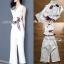 เสื้อผ้าแฟชั่นเกาหลี Lady Ribbon's Made Lady Rachel Smart Casual White Top with ColorfulRibbon and Side-Pleated Pants Set thumbnail 4