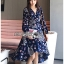 เสื้อผ้าแฟชั่นเกาหลี Lady Ribbon's Made Lady Monica Floral Patterned Printed Wrap Dress thumbnail 3