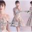 เสื้อผ้าแฟชั่นเกาหลี Lady Ribbon's Made Lady Erin Off-Shoulder Pink Flower Embroidered Tulle Mini Dress thumbnail 6